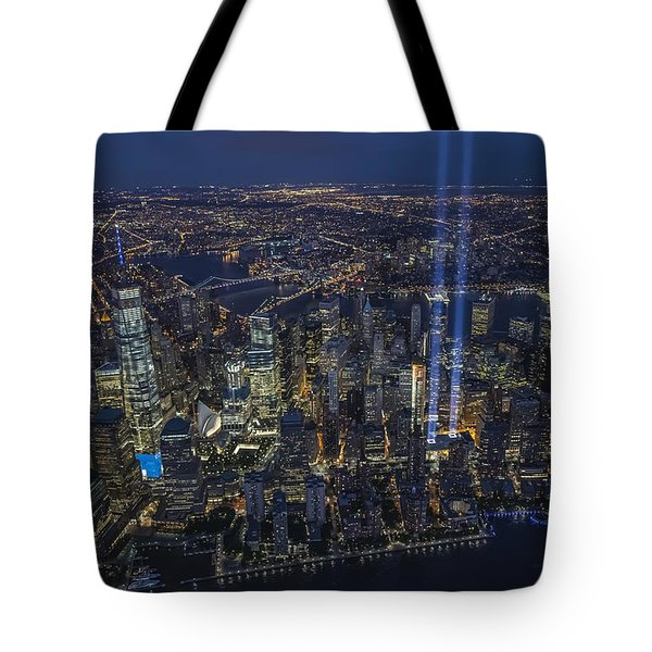Tote Bag featuring the photograph Never Forget-an Aerial Tribute by Roman Kurywczak