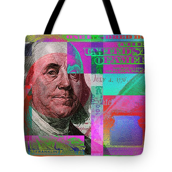 New 2009 Series Pop Art Colorized Us One Hundred Dollar Bill  No. 3 Tote Bag