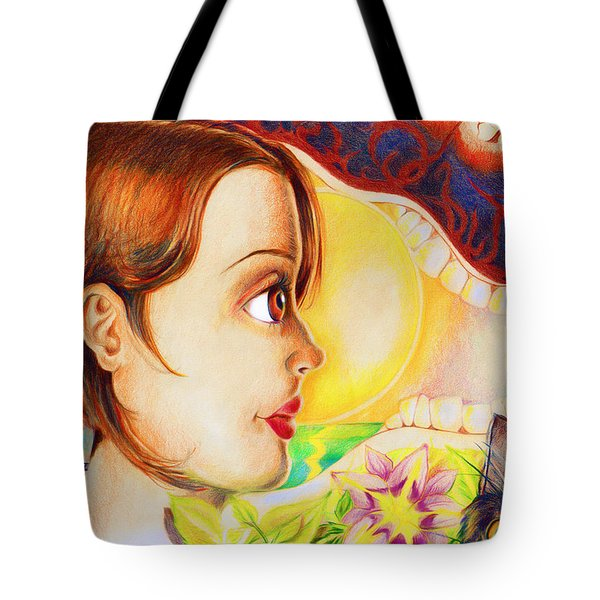 Tote Bag featuring the drawing New Beginning by Shawna Rowe