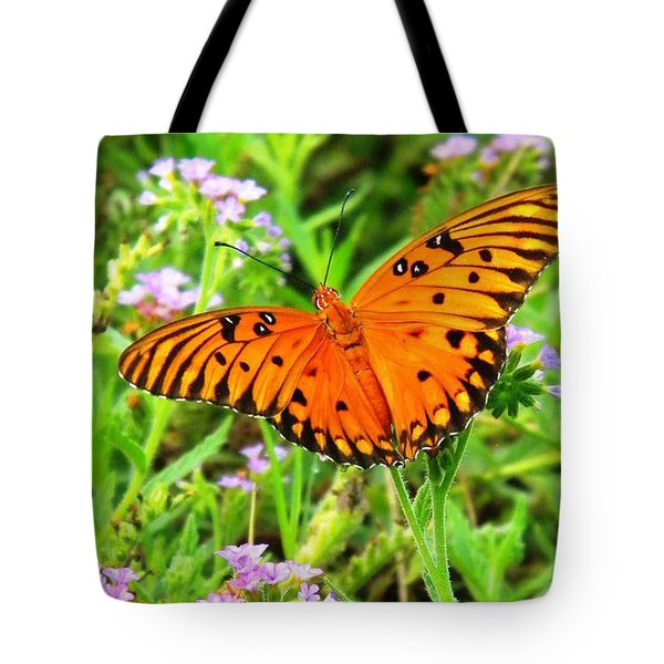 Windows From Heaven Orange Butterfly Tote Bag