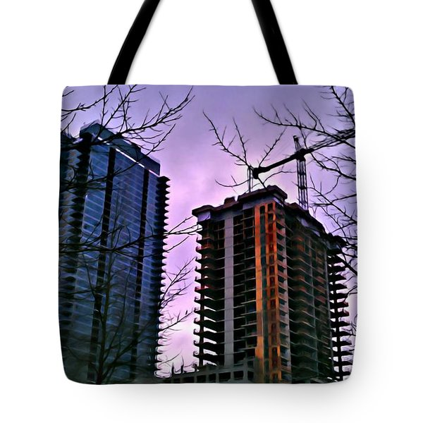 New Construction, Two Towers Tote Bag