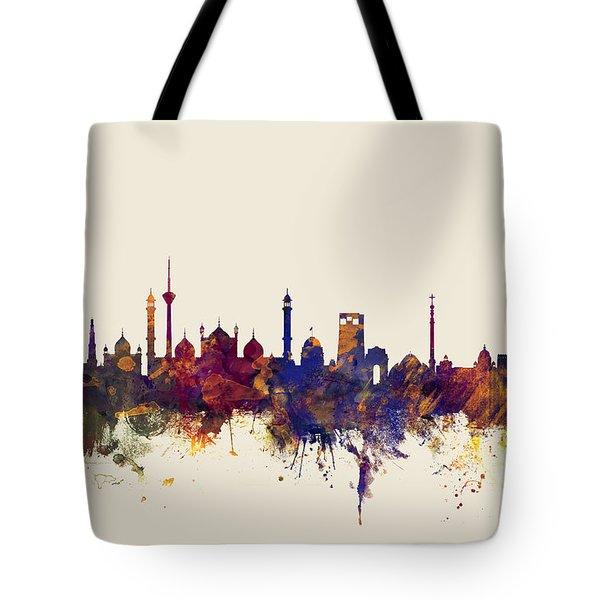 New Delhi India Skyline Tote Bag
