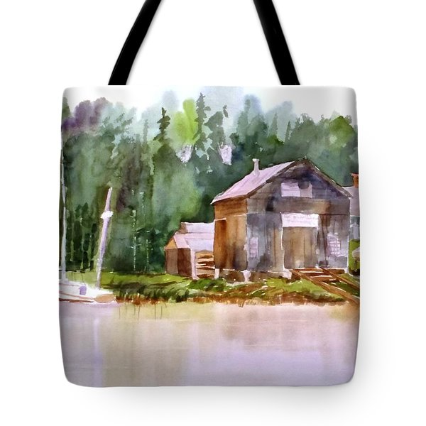 New England Boat Repair Tote Bag by Larry Hamilton