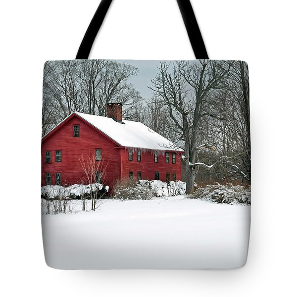 New England Colonial Home In Winter Tote Bag