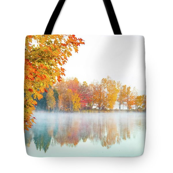 Tote Bag featuring the photograph New England Fall Colors Of Maine by Jeff Folger