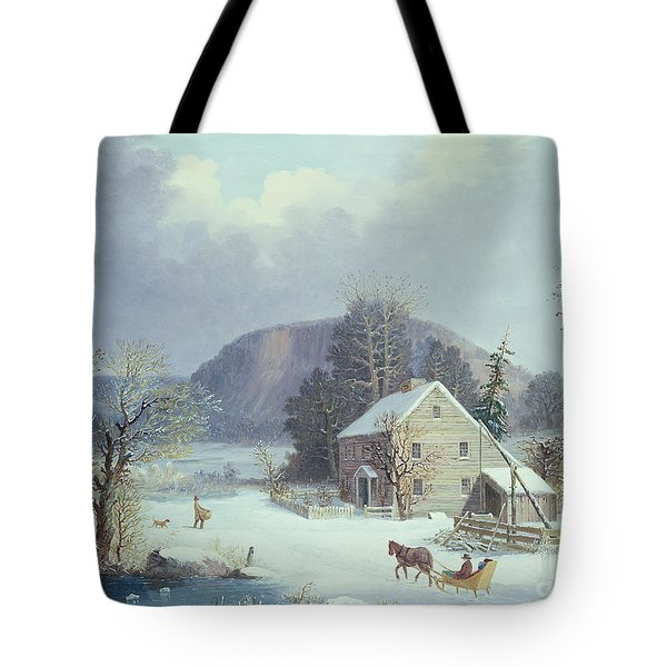 New England Farm By A Winter Road, 1854  Tote Bag