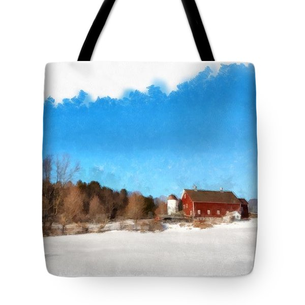 New England Farm Winter South Woodstock Vermont Tote Bag