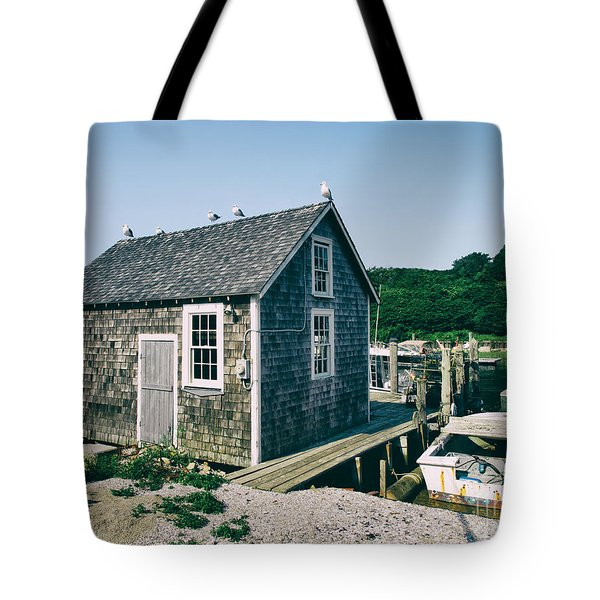 New England Fishing Cabin Tote Bag by Mark Miller