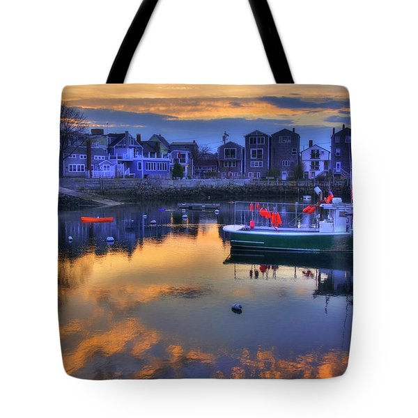 Tote Bag featuring the photograph New England Harbor Sunset - Rockport, Ma by Joann Vitali