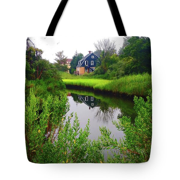 New England House And Stream Tote Bag