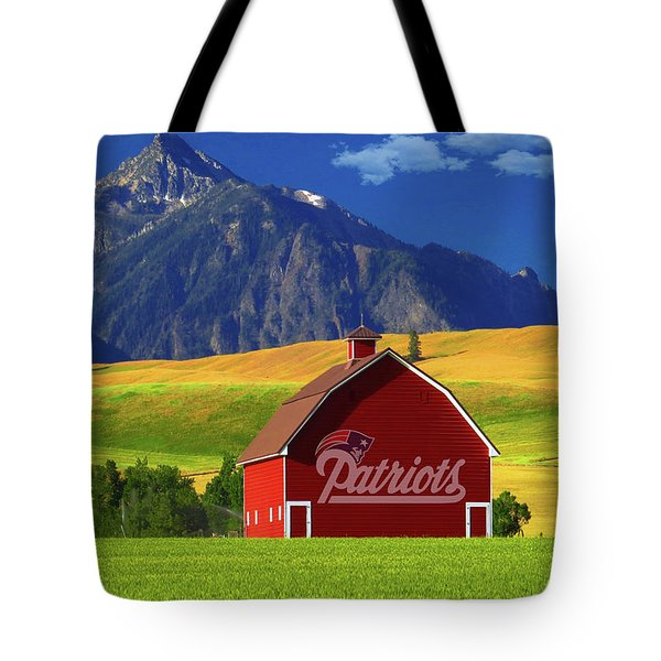 Tote Bag featuring the photograph New England Patriots Barn by Movie Poster Prints