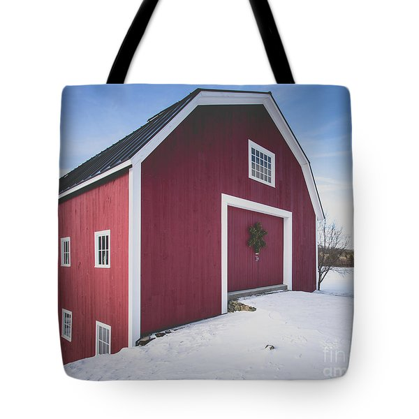 Tote Bag featuring the photograph New England Red Barn Winter Orford by Edward Fielding