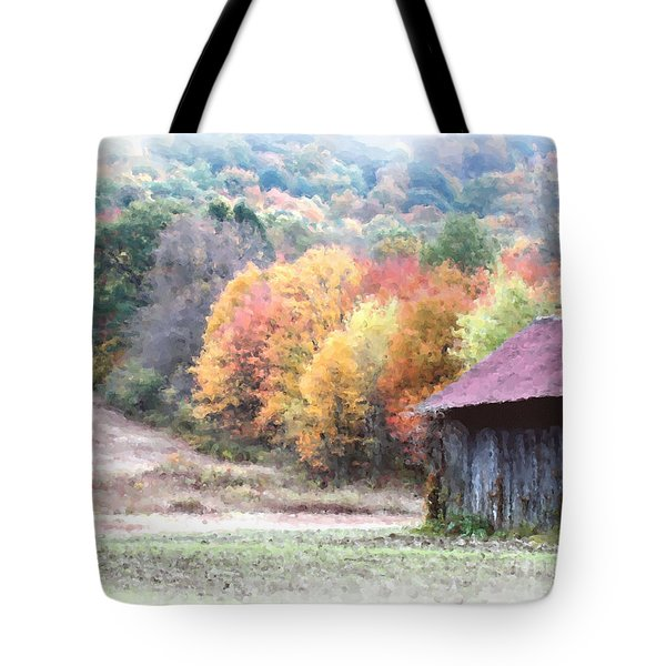 New England Tobacco Barn In Watercolor Tote Bag