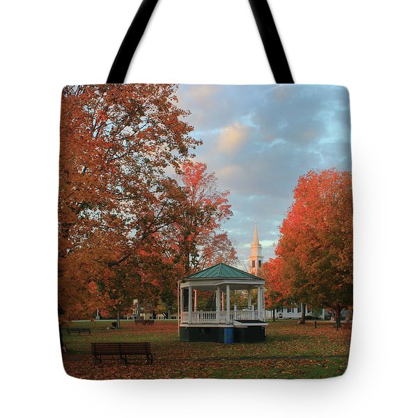 New England Town Common Autumn Morning Tote Bag by John Burk
