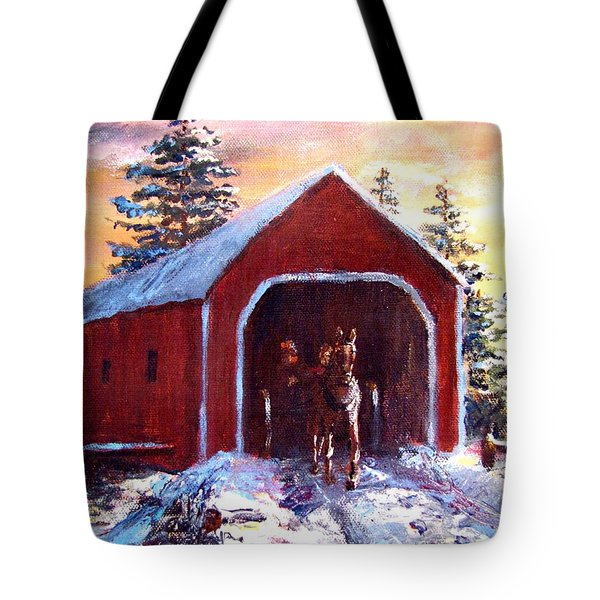 Tote Bag featuring the painting New England Winter Crossing by Jack Skinner