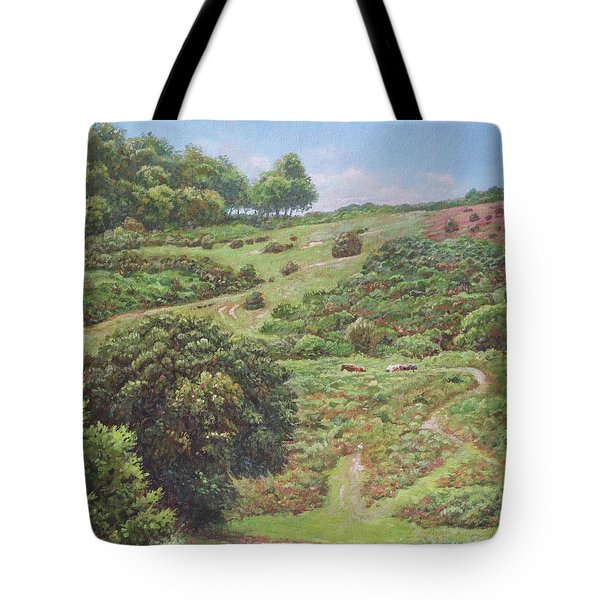 Tote Bag featuring the painting New Forest Hill With Cows And Horses by Martin Davey