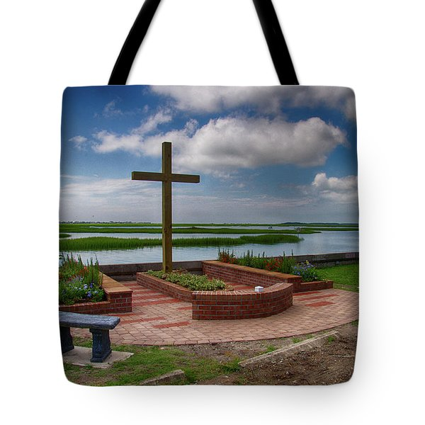 Tote Bag featuring the photograph New Garden Cross At Belin Umc by Bill Barber