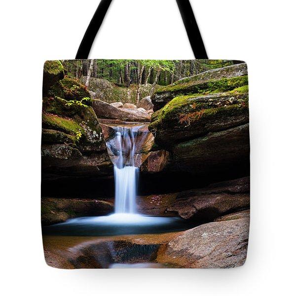 New Hampshire Sabbaday Falls And Fall Foliage Panorama Tote Bag