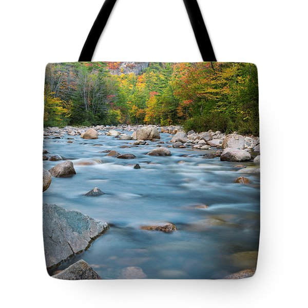 New Hampshire Swift River And Fall Foliage In Autumn Tote Bag