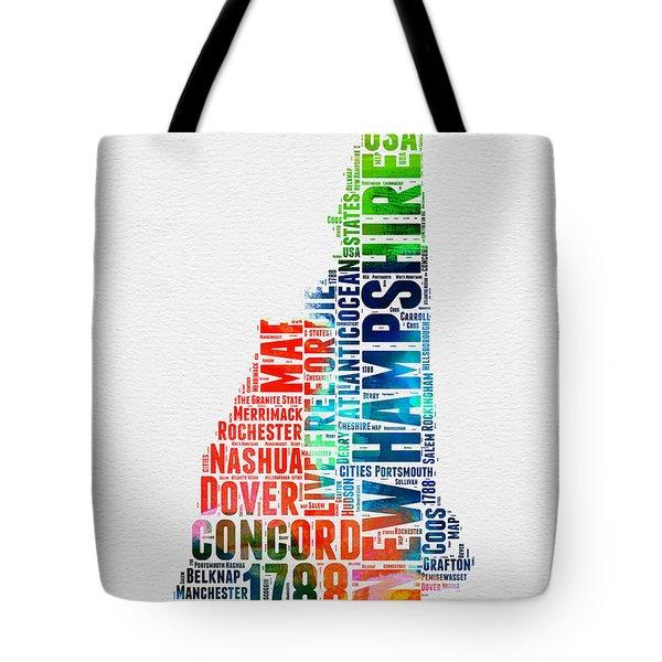 New Hampshire Watercolor Word Map Tote Bag