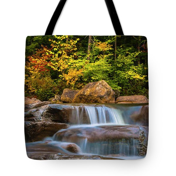 New Hampshire White Mountains Swift River Waterfall In Autumn With Fall Foliage Tote Bag