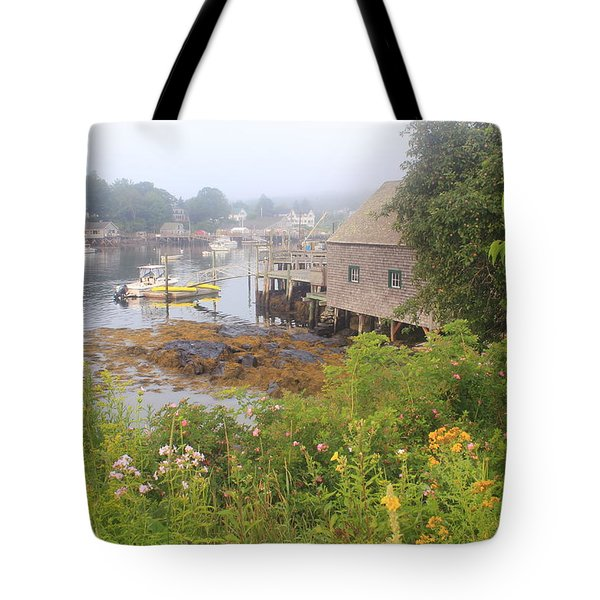 New Harbor Maine Foggy Summer Morning Tote Bag