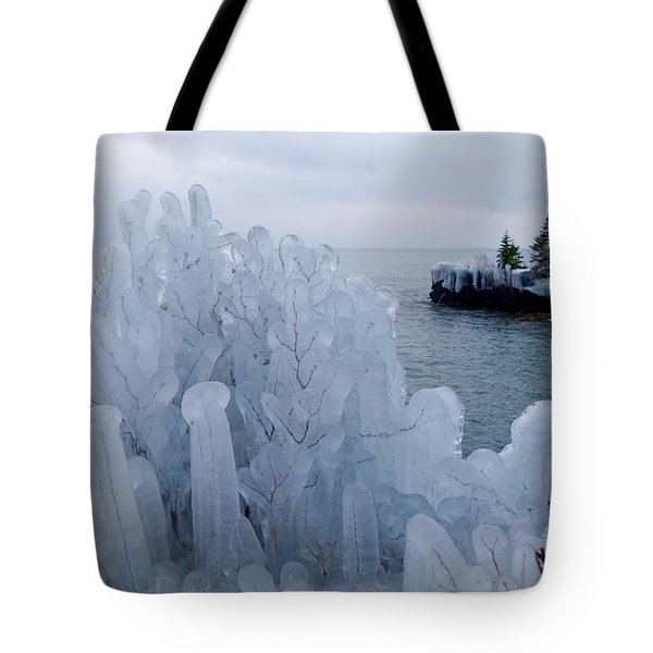 New Ice On Lake Superior Tote Bag by Sandra Updyke