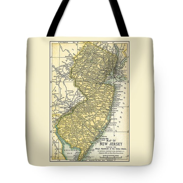New Jersey Antique Map 1891 Tote Bag