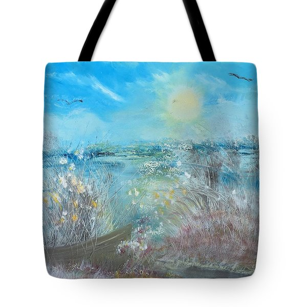 Boat In The Bay Tote Bag