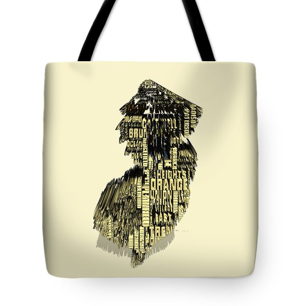 New Jersey Typographic Map 4d Tote Bag