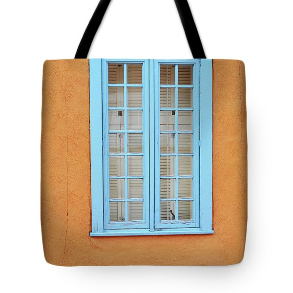 Tote Bag featuring the photograph New Mexico Blue Window by Andrea Hazel Ihlefeld