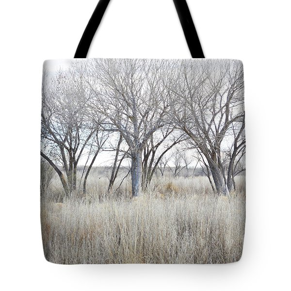 Tote Bag featuring the photograph New Mexico Desert Tree Field by Andrea Hazel Ihlefeld