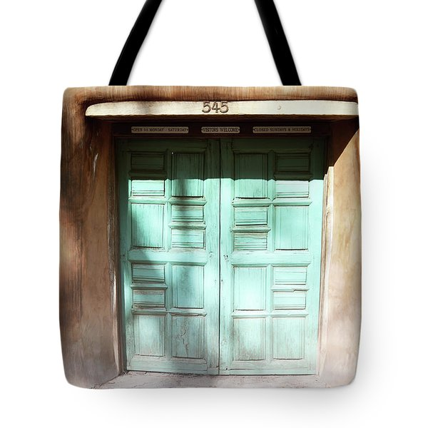 Tote Bag featuring the photograph New Mexico Dreamy Rustic Door by Andrea Hazel Ihlefeld