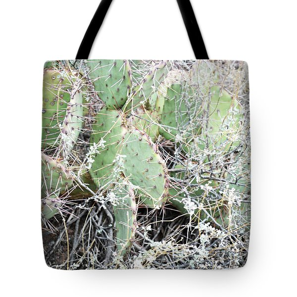 Tote Bag featuring the photograph New Mexico Green Prickly Pear Cactus by Andrea Hazel Ihlefeld