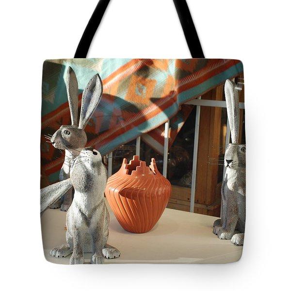 New Mexico Rabbits Tote Bag by Rob Hans
