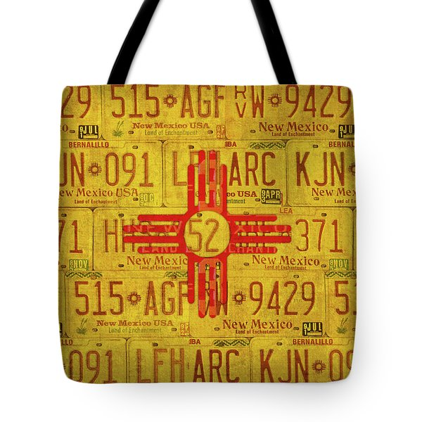New Mexico State Flag Vintage License Plate Art Tote Bag by Design Turnpike