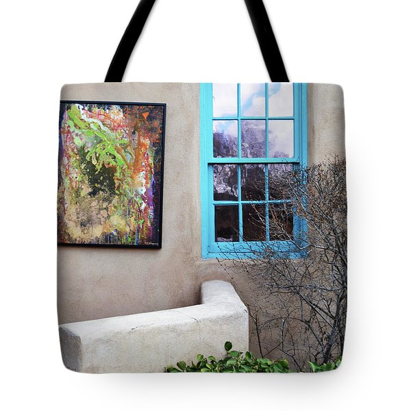 Tote Bag featuring the photograph New Mexico Turquoise Window Landscape by Andrea Hazel Ihlefeld