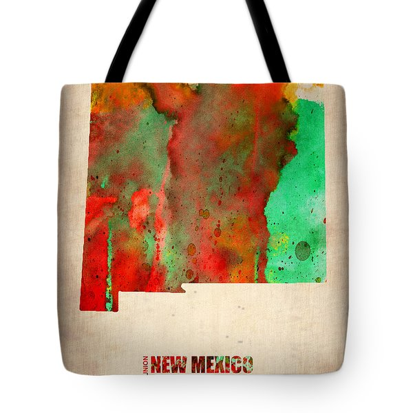 New Mexico Watercolor Map Tote Bag by Naxart Studio