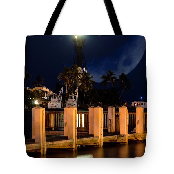 New Moon At Hillsboro Inlet Lighthouse Tote Bag