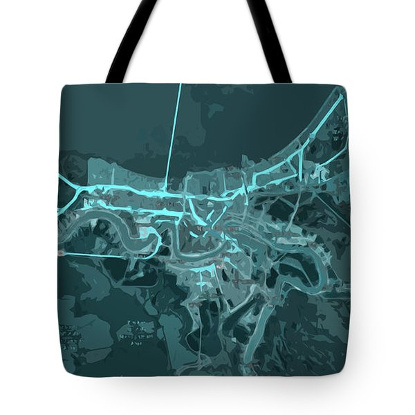 New Orleans Old Map Abstract Blue Tote Bag