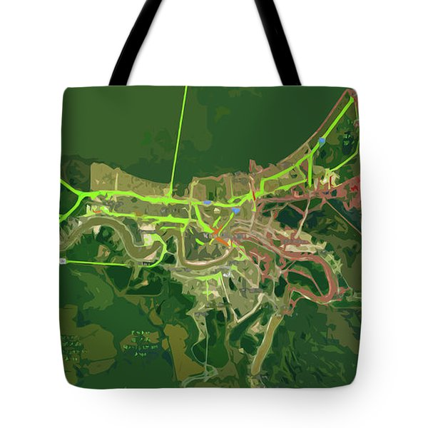 New Orleans Old Map Green Abstract Tote Bag