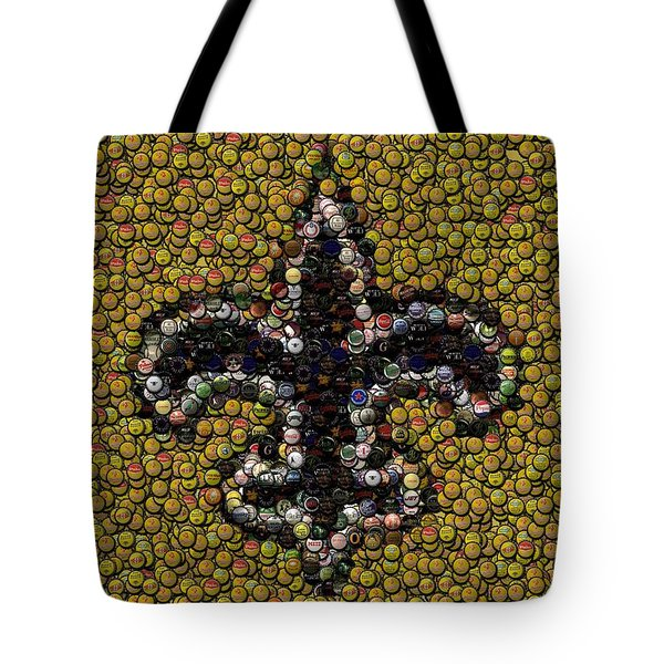 New Orleans Saints  Bottle Cap Mosaic Tote Bag by Paul Van Scott