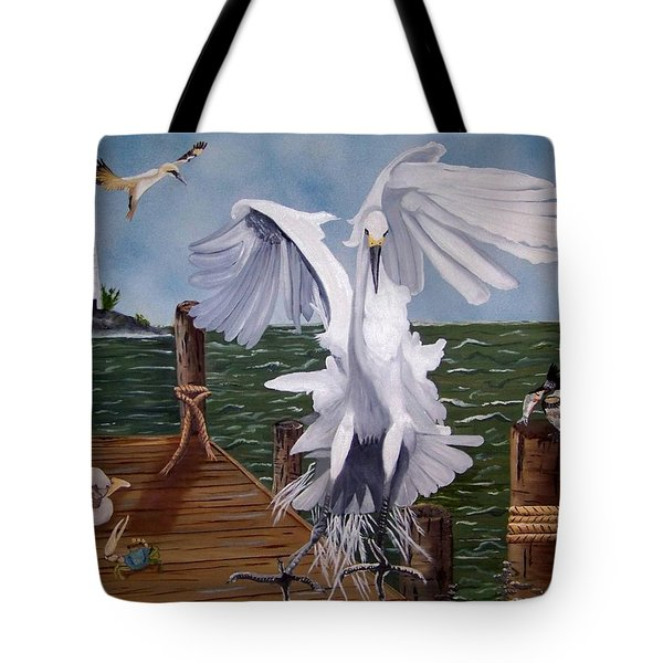 New Point Egret Tote Bag by Debbie LaFrance