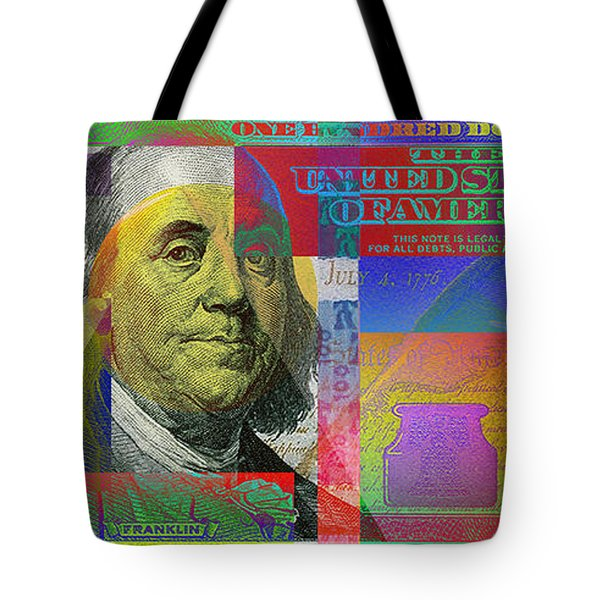 New Pop-colorized One Hundred Us Dollar Bill Tote Bag by Serge Averbukh