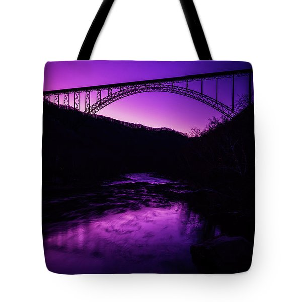 New River Gorge Bridge Afterglow Tote Bag