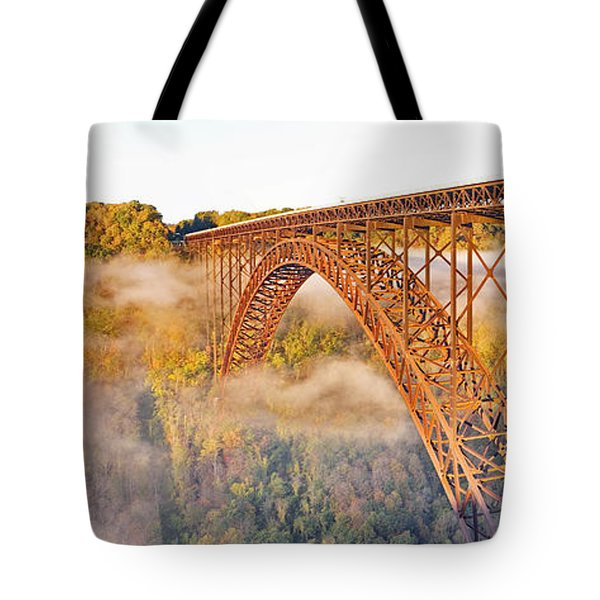 New River Gorge Bridge Morning Fall Panorama Tote Bag