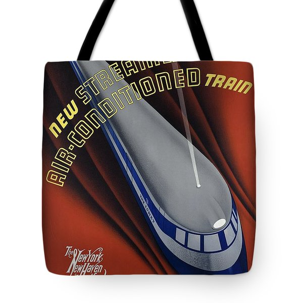 New Streamlined Air Conditioned Train - Railroad - Retro Travel Poster - Vintage Poster Tote Bag