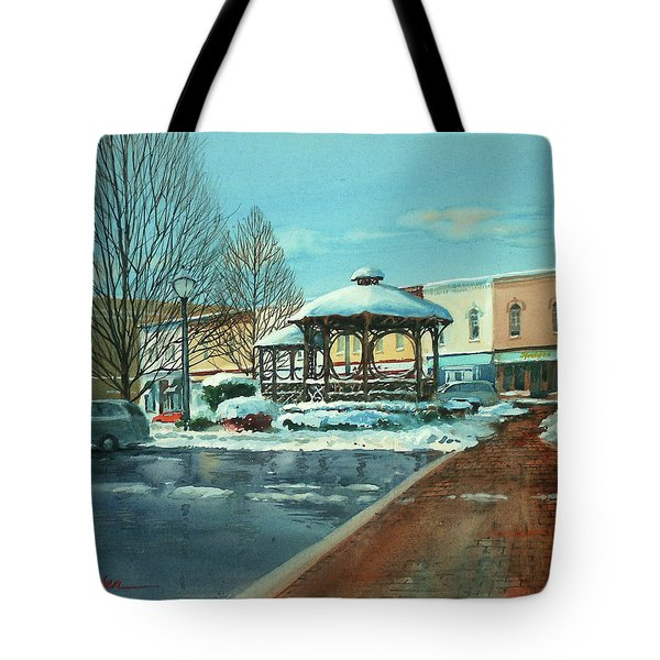 Triangle Park In Winter Tote Bag