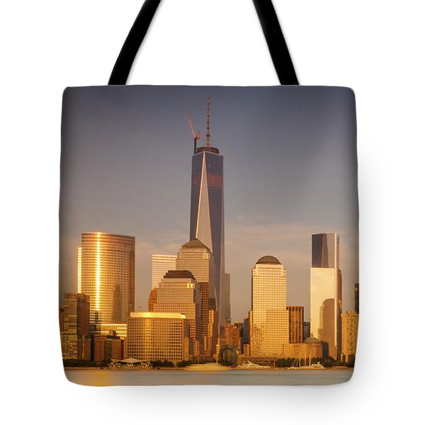 New World Trade Memorial Center And New York City Skyline Panorama Tote Bag