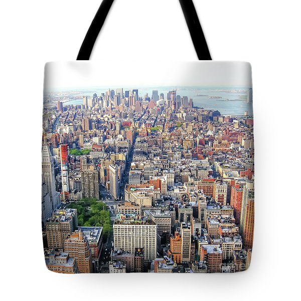 Tote Bag featuring the photograph New York Aerial View by Benny Marty